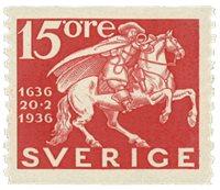 Suède Facit 248a 1936 la poste 300 ans