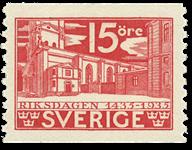 Suède Facit 242a 1933 banque épargne de la poste anniversaire