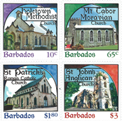 Barbades - Eglises - Série neuve 4v