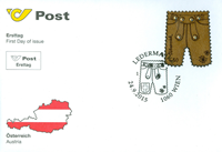 Austria - Leather trousers with Swarowski crystals - First Day Cover with leather and Swarowski crystals souvenir sheet