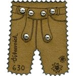 Austria - Leather trousers - Mint souvenir sheet with Swarovski crystals and real leather