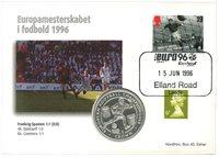 Gran Bretagna - Euro '96 / Incontro Francia-Spagna - busta filatelico-numismatica