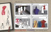 Singapore - Mode gezamenlijke uitg. met Frankrijk - Postfris souvenir velletje