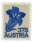 Austria - Enzian - Mint embroded stamp