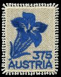 Østrig - Blå enzian alpeblomst - Postfrisk broderet frimærke