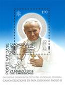 Vatican - Emission commune canonisation deux papes - Bloc obl.