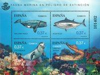Spanien - Truet havfauna - Postfrisk miniark