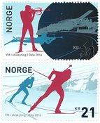 挪威新邮 冬季两项世界锦标赛 套票 2枚