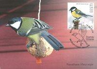 爱沙尼亚邮票 大山雀 极限片 新邮 外国邮票 邮票收藏