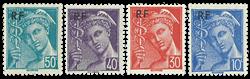 Frankrig - Frimærker fra 1942 YT657-660