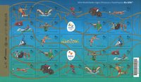 Brasilien 2016 - OL postfrisk ark - 25 frimærker blågrønne - Postfrisk ark 30 x 1,40
