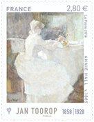 法国邮票 荷兰象征主义画家 Jan Toorop 作品 外国邮票 邮票收