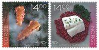 挪威邮票 北欧联合发行:北欧美食 套票 2枚