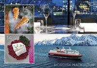 挪威邮票 北欧联合发行:北欧美食 小全张