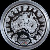 Olympische Spelen 2000 in Sydney - Zilveren munt met zee kaart