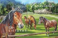 Lituanie - Chevaux - Bloc-feuillet neuf