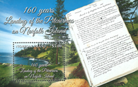 Norfolk Island - Landing of the Pitcairner - Mint souvenir sheet