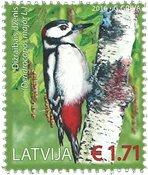Lettonie - Oiseaux - Pivert - Timbre neuf