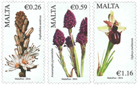 Malta - Blomster del III - Postfrisk sæt 3v