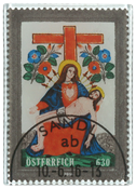 Autriche - Timbre en verre Sainte Pietá - Timbre oblitéré