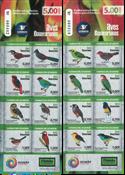Ecuador - Fugle 2015 - Postfrisk selvklæbende sæt