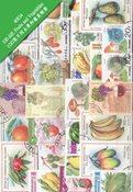 100 枚不同有关水果和蔬菜专题盖销票
