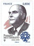法国邮票 法国前总统密特朗诞生100周年 纪念邮票1枚