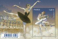 法国邮票 邮票日 经典的芭蕾舞剧《天鹅湖》 异形 小型张