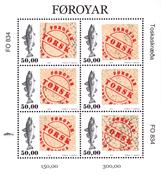 Færøerne - Ægte torskeskind - Postfrisk miniark