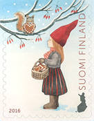 Finland - Girl + squirrel - Mint stamp