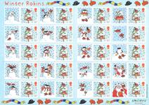 Grande-Bretagne - Feuille Noël 2003 - Feuille Smilers / Rouge-gorge