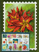 Thematic stock book + 50 flower stamps