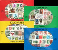 Offre globale : 4 paquets de timbres au kilo mixtes - 100 gr.