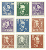 Suède - Personnalités suédoises - 9 timbres neufs