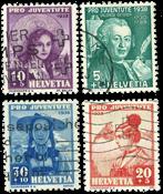 Suisse 1938 - Michel 331/34 - Oblitéré