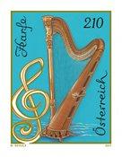 奥地利新邮 2017 奥地利乐器系列:竖琴 单枚 收藏真品