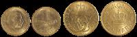 Denmark coins yellow 1 & 2 kr.