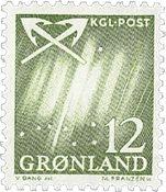 Grønland - 1963-1964. Nordlys - 12 øre - Gulgrøn