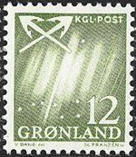 Groenland - 1963-1964. Grande ourse - 12 øre - Vert-jaune