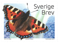 Sverige - Sommerfugl - Postfrisk frimærke fra rulle