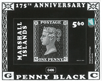 Îles Marshall - Penny Black 175 ans - Bloc-feuillet neuf