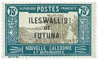 Wallis 56 * 75c vert-bleu gris -olive Nlle-Calédonie 1905