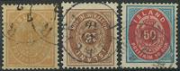 Islande 1875-92 - AFA no 12 + 9B avec filigrane inversé + 16A - Obl.