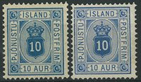 Islande 1876-95 - AFA no 5 + 5a - Timbres service - Neuf avec ch.e