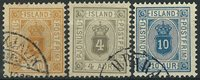 Islande 1898-1900 - AFA no 3B + 5B + 9B - Timbres service -  Obl.