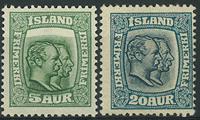Islande 1915-18 - AFA no 79 + 82 - Neuf avec ch.