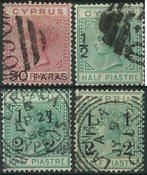 Chypre 1882-86 - AFA no. 16 + 24 + 25 +25a - Oblitérés