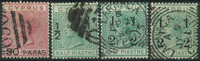 Cyprus 1882-86 - AFA no. 16 + 24 + 25 +25a - cancelled