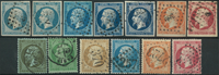 France 1853-62 - 13 cancelled Napoleon