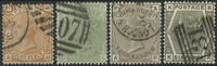 Great Britain 1873-81 - AFA no. 45 + 48 + 61 + 63 - cancelled